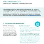 Osteoarthritis of the knee Clinical Care Standard Consumer Fact Sheet